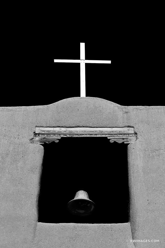 SAN MIGUEL MISSION CHURCH SANTA FE NEW MEXICO BLACK AND WHITE VERTICAL