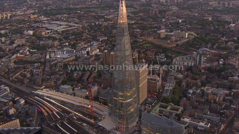 Aerial footage of The Shard at dusk, London