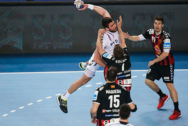 Luka ŠEBETIĆ of PPD Zagreb , Alex DUJSHEBAEV of Vardar during the Final Tournament - Final Four - SEHA - Gazprom league, semi...