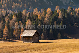 A mountain hut in hiking area of the Fanes Sennes Prags Nature Park near Schluderbach Carbonin in the South Tyrol, Italy.
