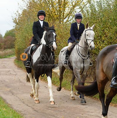 Alice Robb, Lizzie Lomas on Newbold Road. The Cottesmore Hunt at Somerby