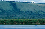 Fishing boat on the lake, lake Mburo National Park, Uganda