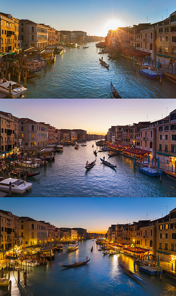 Italy, Venice, View of Grand Canal at dusk