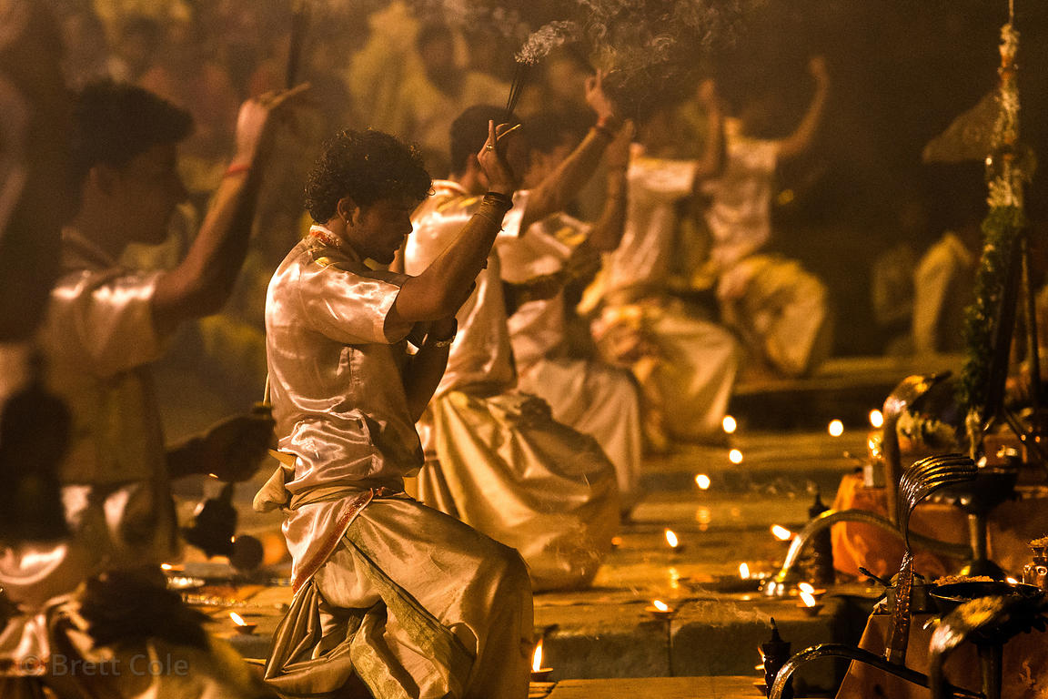 Pujari wave incense and bells during Ganga Aarti, Dashashwamedh Ghat, Varanasi, India