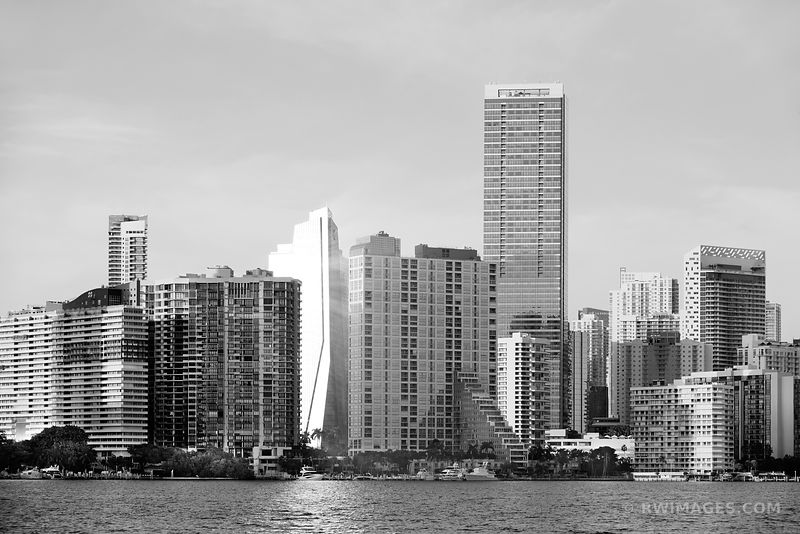 MIAMI DOWNTOWN SKYLINE AT SUNSET CITY OF MIAMI FLORIDA BLACK AND WHITE
