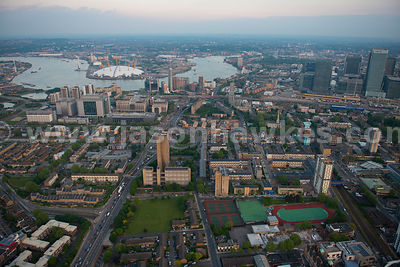 Aerial view of Poplar looking towards Greenwich, London