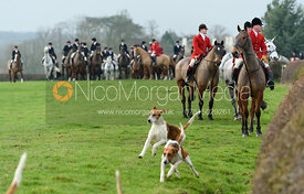 Huntsman, hounds leaving the meet. The Belvoir Hunt at Highfield Farm 12/12