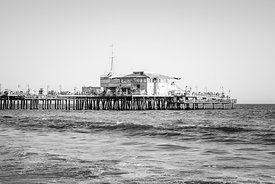 End of Santa Monica Pier Black and White Photo
