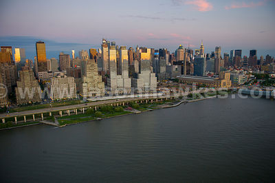 Aerial view of buildings on the west side of Manhattan at sunset