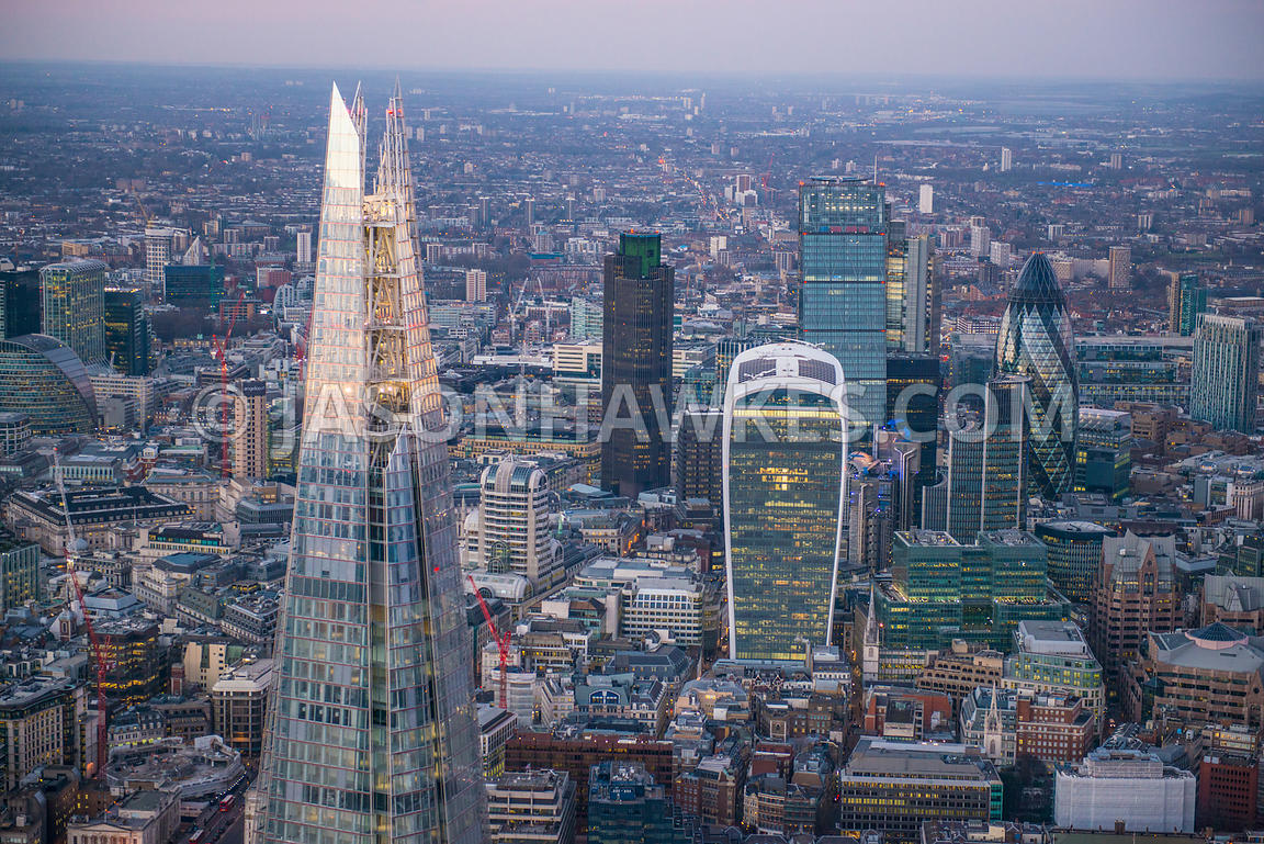 Aerial view of The Shard and the City, London