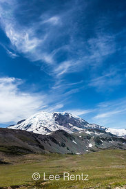 Mount Rainier with Cirrus Clouds Towering Above
