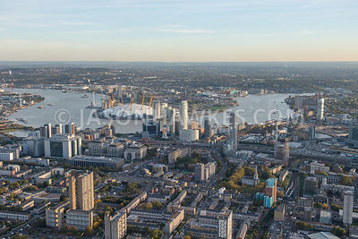 Aerial view, Blackwall (London). A13,  East India Dock Road. London.