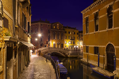 Italy, Venice, Sleepy canal in Dorsoduro at night