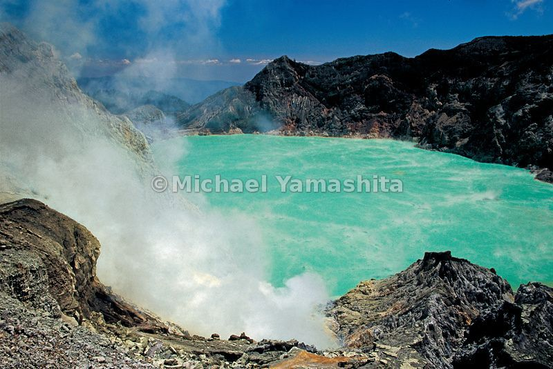 The Ijen Volcano multiplex is a common place for sulfur mining and is comprised of several composite volcanos in Banyuwangi R...