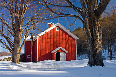Barn in winter snow near Ardsley, Hudson, New York