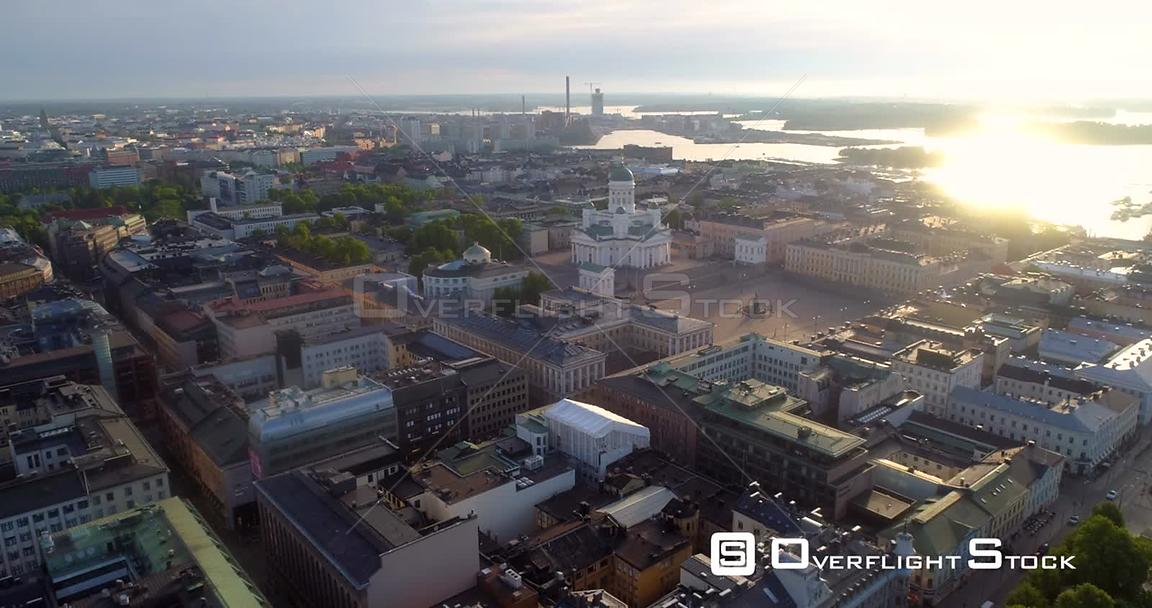 Helsinki City, Aerial Sideway View of the Cityscape and the Cathedral, on a Sunny Summer Morning Dawn, in Helsingfors, Uusima...
