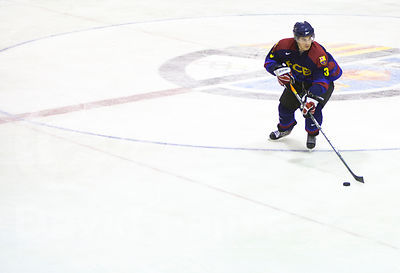 Iñigo Gainza (FCB) handles the puck during a Spanish Ice Hockey Super League (Superliga Española de Hockey Hielo) match betwe...
