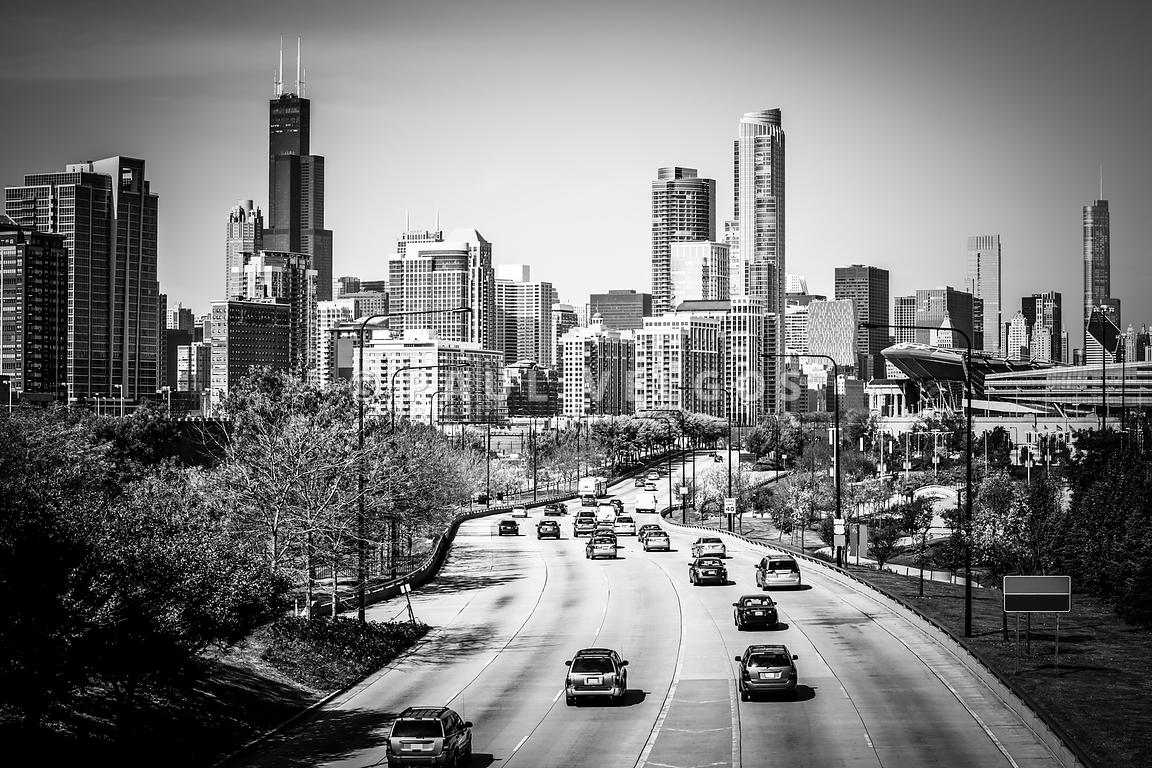 Downtown Chicago Lake Shore Drive in Black and White