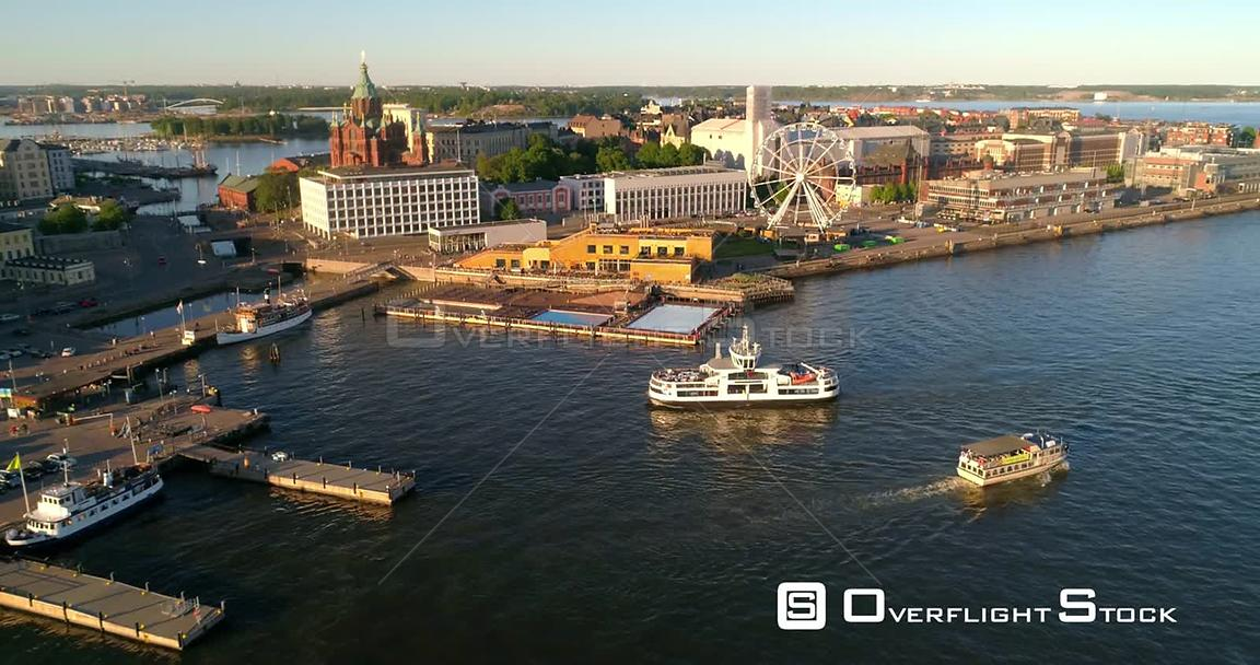 Helsinki Harbour, Aerial View Following a Suomenlinna Ferry Entering Helsinki South Harbor , on a Sunny Summer Evening Dusk, ...