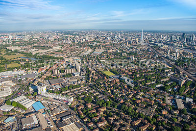 Aerial view of London, Southwark and Bermondsey.