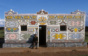 Loopspruit Ndebele Village, the Ndebele fingerpaint their houses. Pretoria, South Africa