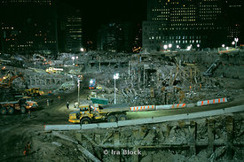 Views at night of clean up in Ground Zero, Tribeca, New York
