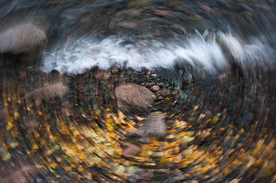 Waves on lake shore, zoom effect. 'Brown Bear Coast', Baikalo-Lensky Nature Reserve, Lake Baikal, Siberia, Russia, September ...