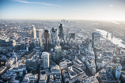 Winter aerial view of the City of London and Bank, London.