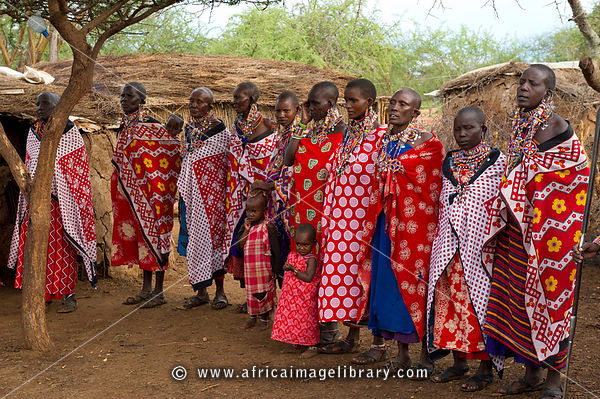 Maasai women and children in the manyatta, Selenkay Conservancy, Kenya