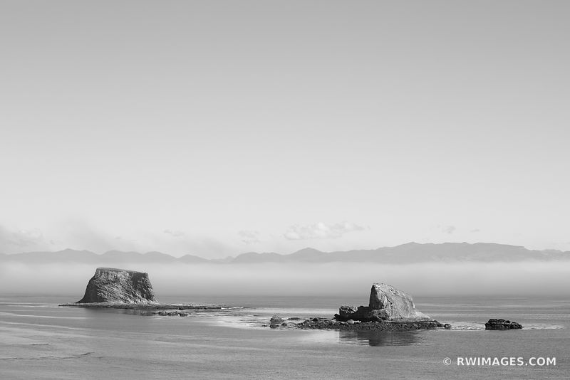 VANCOUVER ISLAND BRITISH COLUMBIA CANADA FROM NEAH BAY PACIFIC NORTHWEST OLYMPIC PENINSULA WASHINGTON BLACK AND WHITE