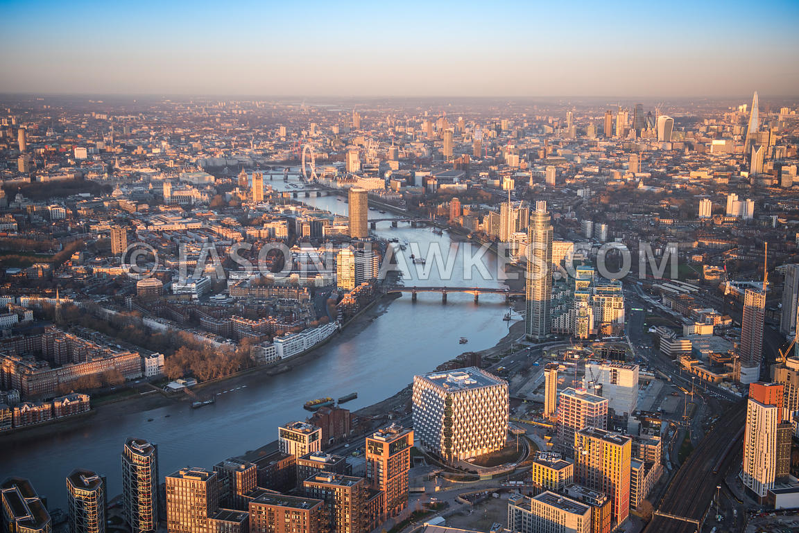 Aerial view of London, Nine Elms redevelopment with New US Embassy.