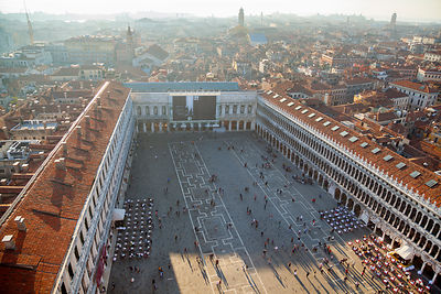 Italy, Venice, View of St Mark's Square from Campanile tower