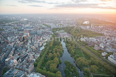 Aerial view of St James' Park and Westminster, London