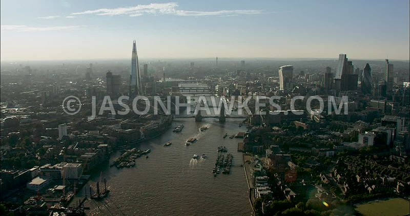 London Aerial Footage of River Thames with Tower Bridge