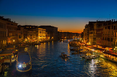 Italy, Venice, Vaporetto on Canal Grande at Rialto Bridge