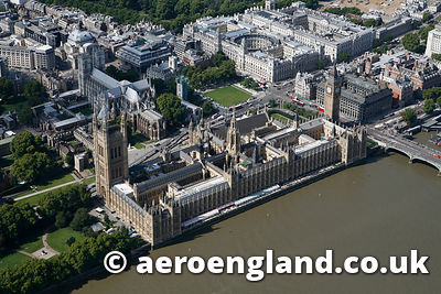aerial photograph of the houses of Parliament  London UK