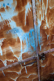 Weathered and rusty metal door, Leh, Ladakh, India