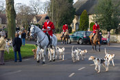 The Cottesmore hounds arrive at the meet with Huntsman Andrew Osborne MFH