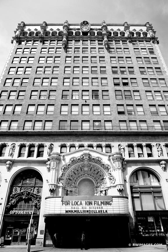 HISTORIC DOWNTOWN LOS ANGELES ARCHITECTURE BLACK AND WHITE VERTICAL