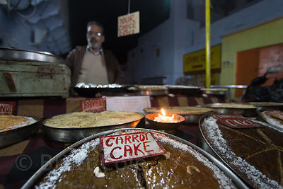 Homemade carrot cake for sale at the market in Choti Basti, Pushkar, Rajasthan, India