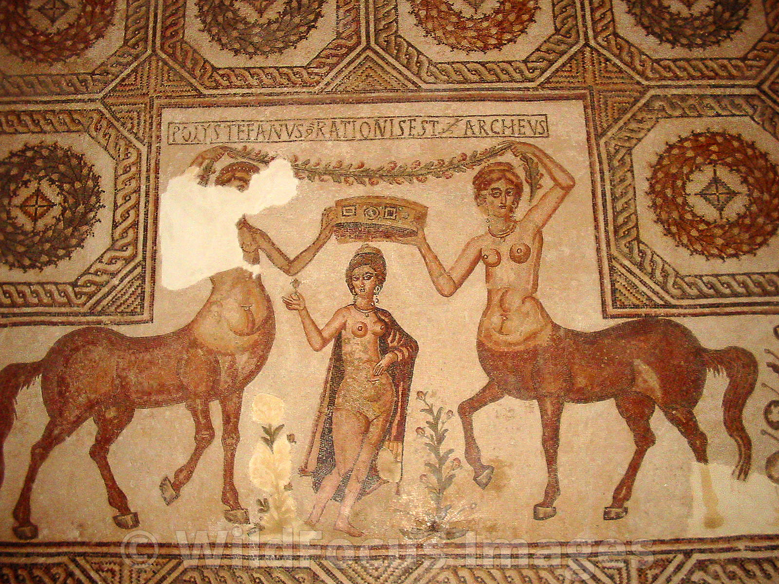 Roman Mosaic depicting a couple of centaurs and a female friend, Bardo Museum, Tunisia