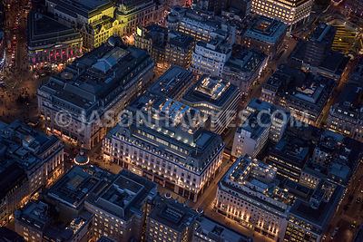 Aerial view of London, Regent Street at St James's at night time.