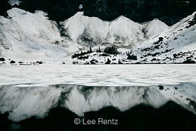 Snow and Ice at Lake Twentytwo in the Cascade Mountains