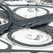 Moscow, Russia. The interchange at the intersection of Moscow Ring Road and Shocce Entuziastov.