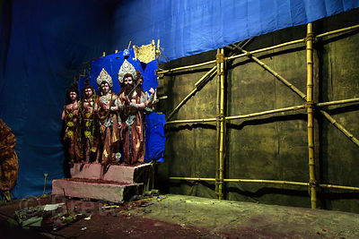 A pandal from the Durga Puja festival is disassembled in Kalighat, Kolkata, India. They will leave behind Lakshmi, who has he...