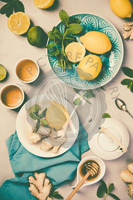 Ginger tea with lemon, honey and mint