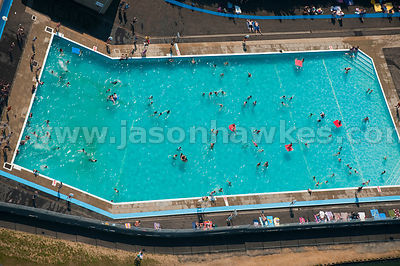 Aerial view of swimmers in swimming pool