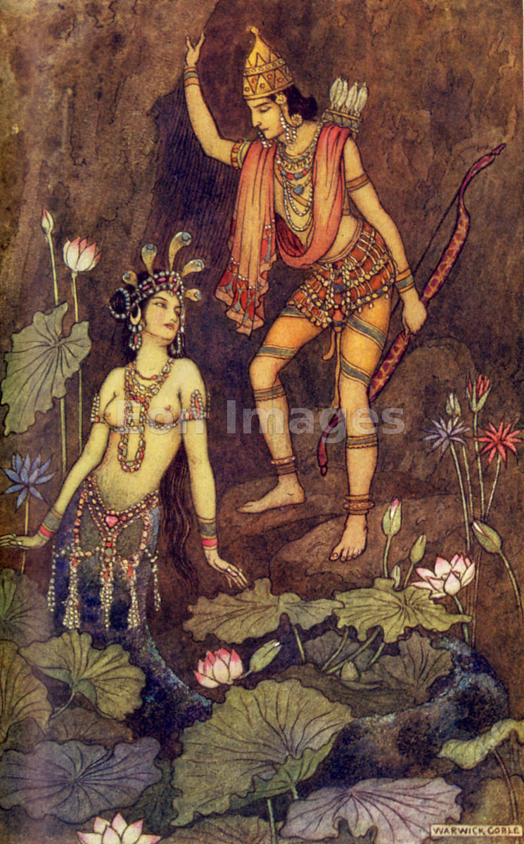 Arjuna and the River Nymph by Warwick Goble