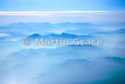 The Andes mountains at sunrise from the air, near Santiago, Chile