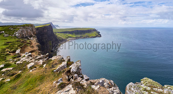 The dramatic and steep rocky cliffs of Ramasaig near Dunvegan on the Isle of Skye, Scotland, UK.